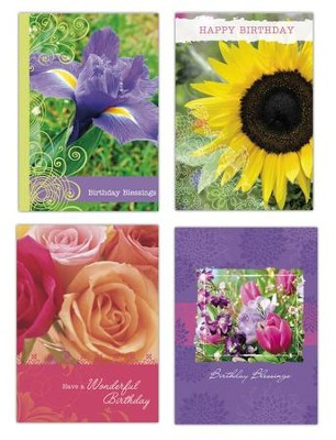 Floral Birthday Cards, Box of 12  -
