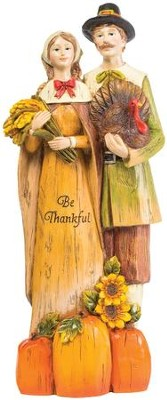Harvest Pilgrim Couple Figurine  -