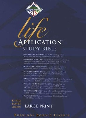 KJV Life Application Study Bible, Large Print, Bonded Leather, Burgundy, Thumb Indexed  -