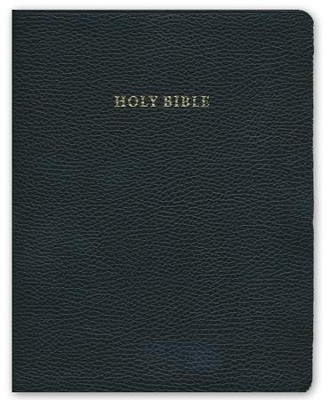 NIV Wide Margin Reference Bible, black calfsplit leather, red letter text  -