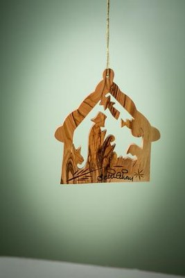 Olive Wood Nativity Stable Ornament  -