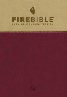 Fire Bible ESV version, Soft leather-look, Tan/Berry   -