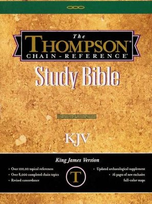 KJV Thompson Chain-Reference Bible, Handy Size, Black Genuine  Leather, Capri Grain, Thumb-Indexed  -