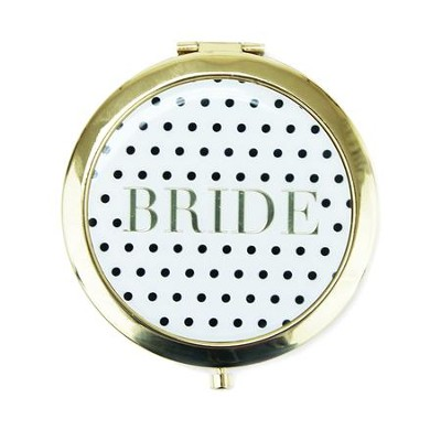 Bride Compact Mirror, Black and White Polka Dot  -