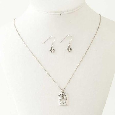 Angel with Crystal Accents Necklace and Earring Set, Silver  -