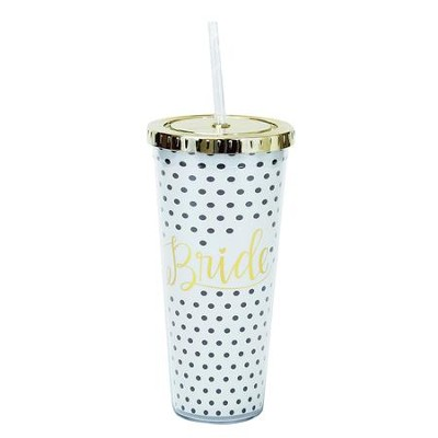 Bride Tumbler with Straw, Black and White Polka Dot  -