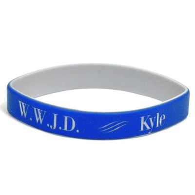 Personalized, WWJD Wristband, With Name, Bold, Blue   -