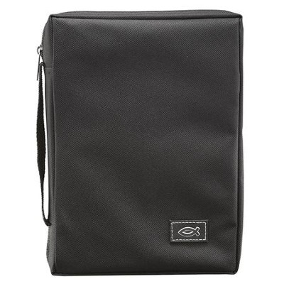 Black Polyester W/Fish Emblem Bible Cover    -
