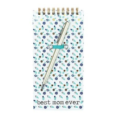 Best Mom Ever Spiral Notepad with Pen, Blue  -