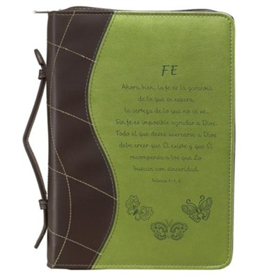 Faith, Hebrews 11:1,6 Bible Cover, Green, Large, Spanish  -