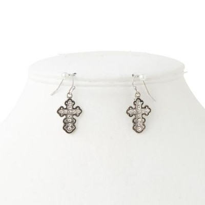 Antique Silver and Crystal Cross Earrings  -
