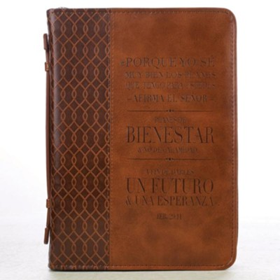 For I Know the Plans Bible Cover, Brown, Medium, Spanish  -
