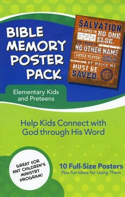 Bible Memory Poster Pack for Elementary Kids  -