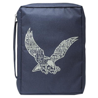 Eagle, Polyester Bible Cover, Navy, Large  -