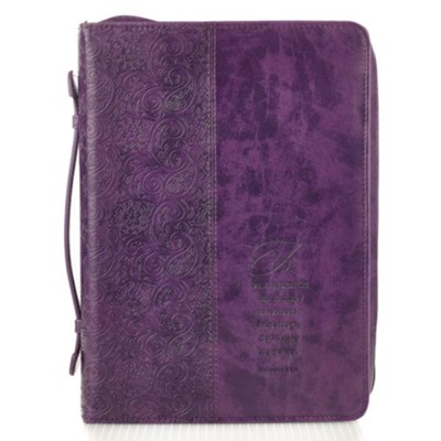 Faith, Hebrews 11:1 Bible Cover, Purple, Large, Spanish  -