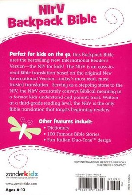 NIrV Backpack Bible, Italian Duo-Tone, pink with dragonfly  -