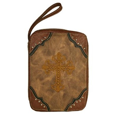 Fashion Cross Bible Cover, Brown  -