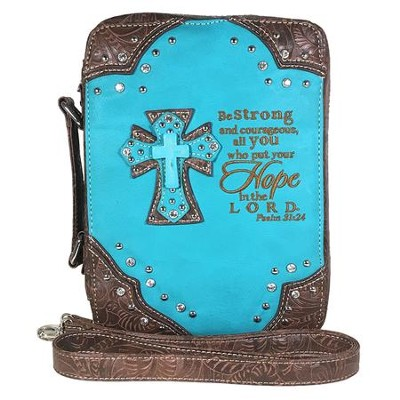 Hope In the Lord, Fashion Cross Bible Cover, Turquoise  -
