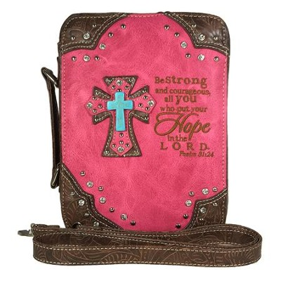 Hope In the Lord, Fashion Cross Bible Cover, Hot Pink  -