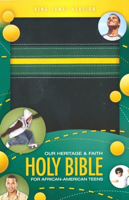 KJV Our Heritage and Faith Holy Bible for African-American Teens Italian Duo-Tone, Black/Emerald/Yellow  -