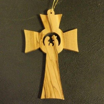 Cross Nativity Olivewood Ornament  -