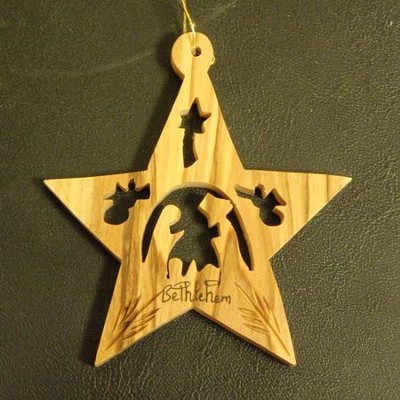 Star Nativity Olivewood Ornament   -