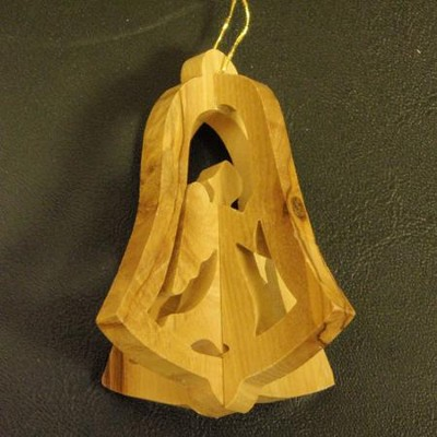 3D Olivewood Bell Ornament  -