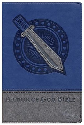NIV Armor of God Bible, Italian Duo-Tone, Bold Blue/Silver   -