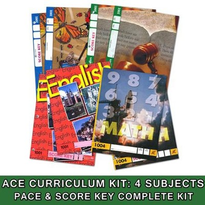 ACE Core Curriculum (4 Subjects), Single Student Complete  PACE & Score Key Kit, Grade 1, 3rd Edition (with 4th Edition  Science & Social Studies)    -