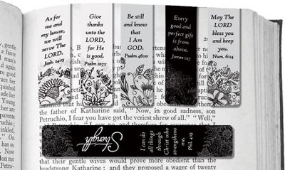 Assorted Magnetic Scripture Black and White Bookmarks, Pack of 6  -