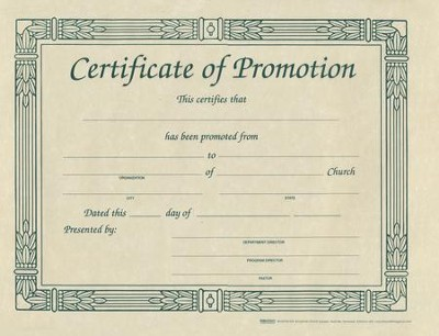 Certificate of Promotion (pkg. of 6)   -