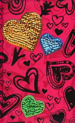 NIV Sequin Bible Hot Pink Hearts  -