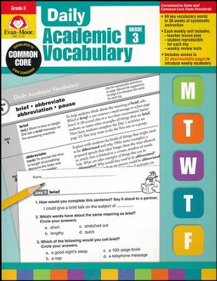 Daily Academic Vocabulary, Grade 3  -