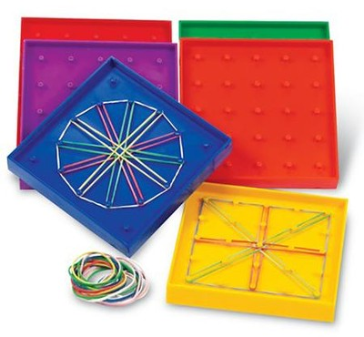Double-Sided Rainbow Geoboards, Set of 6  -     By: Homeschool
