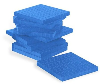 Blue Plastic Base Ten Components: Flats, Set of 10   -