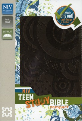 NIV Teen Study Bible Compact, Italian Duo-Tone, Espresso - Slightly Imperfect  -