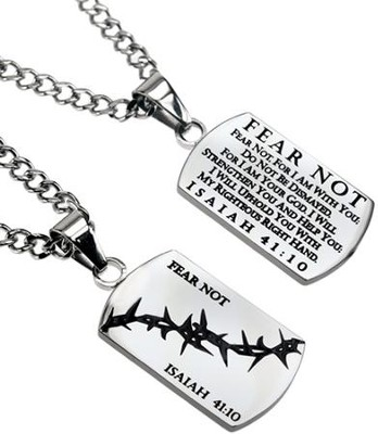 Fear Not Crown of Thorns Dog Tag  -