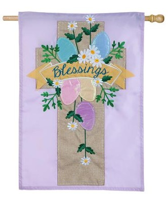 Blessings, Easter Cross, Applique Flag, Large  -