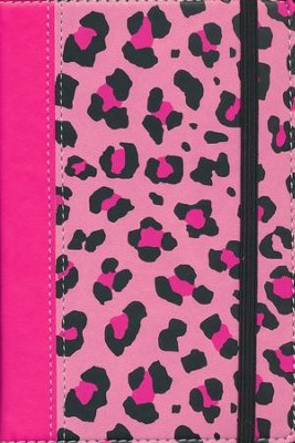 NIV Animal-Print Collection Bible, Italian Duo-Tone, Elastic Closure, Leopard/Pink  -