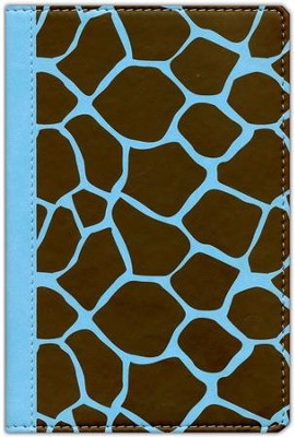 NIV Animal-Print Collection Bible, Italian Duo-Tone, Elastic Closure, Giraffe/Aqua  -