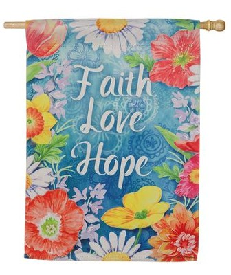 Faith Love Hope Suede Flag, Large  -
