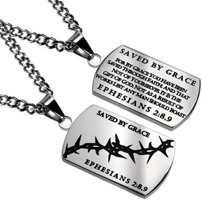Grace Crown of Thorns Dog Tag  -