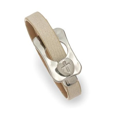 Buckle With Cross Leather Wrap Bracelet, Tan And Silver  -