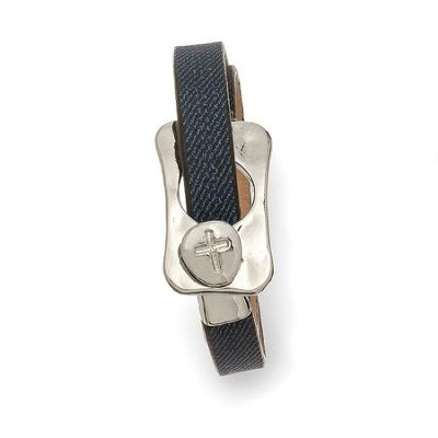 Buckle With Cross Leather Wrap Bracelet, Gray And Silver  -