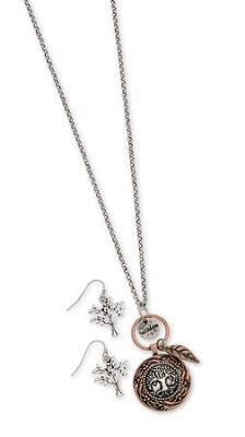 Tree Of Life Coin Style Necklace And Earring Set, Gold Finish  -