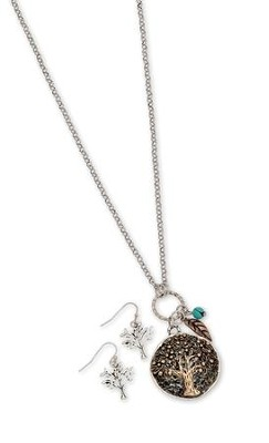 Tree Of Life Medallion Necklace Set, Copper Finish  -