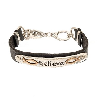 Believe Plaque Leather Bracelet, Silver Finish  -