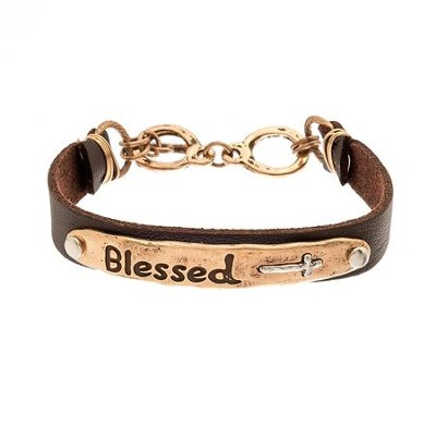 Blessed Plaque Leather Bracelet, Gold Finish  -