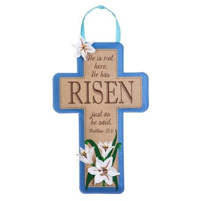 Risen, Cross, Linen Door Decor  -