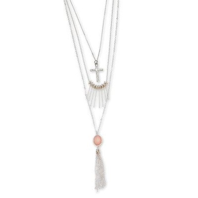 Three Row Cross And Tassel Necklace, Silver Finish  -